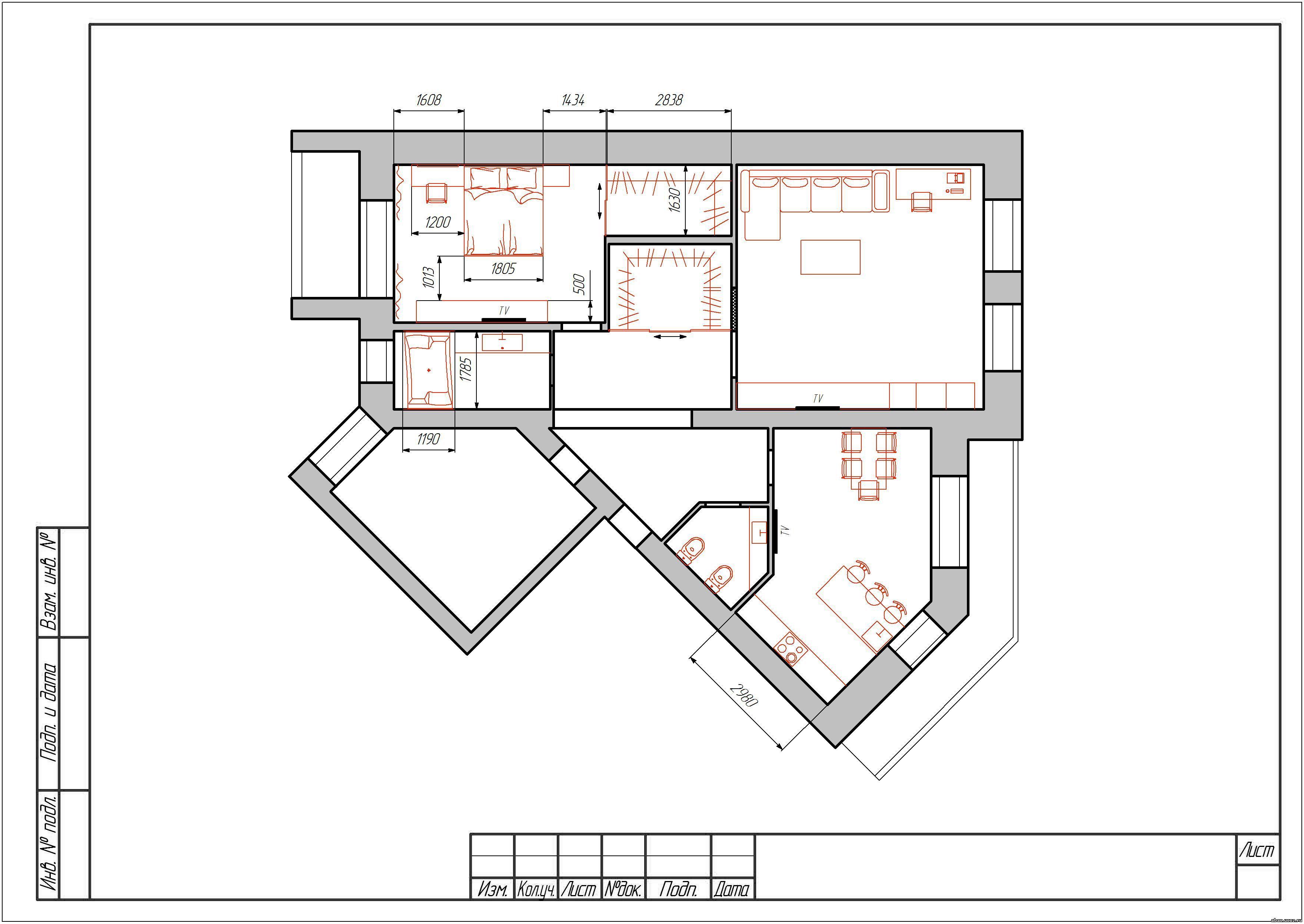 Дизайн проект трехкомнатной квартиры..